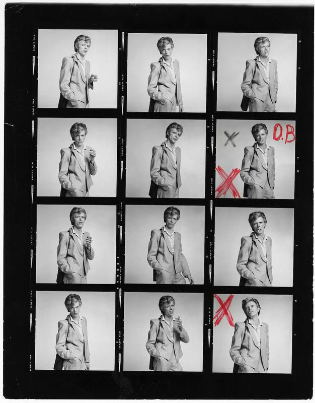 Contact sheet from a portrait session of David Bowie 1974